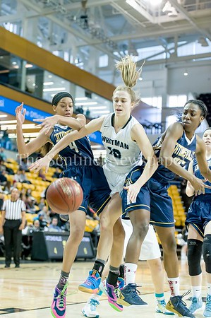 3/11/2017 - Catonsville defenders Staisha Daniels (4) and Jasmine Dickey (20) block Abby Meyers (10) from reaching this rebound in the Maryland Girls 4A Championship - Catonsville v Whitman, ©2017 Jacqui South Photography