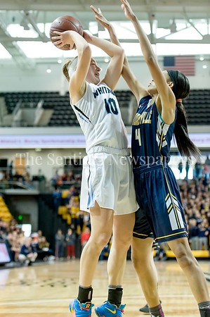 3/11/2017 - Abby Meyers (10) shoots over defender Staisha Daniels (4) in the Maryland Girls 4A Championship - Catonsville v Whitman, ©2017 Jacqui South Photography