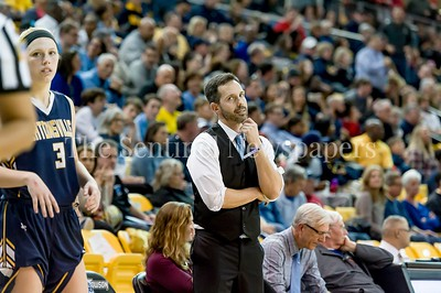 3/11/2017 - Whitman Head Coach Peter's reaction to a late game charging foul called on Abby Meyers, her 4th foul. Meyers fouled out late in the game with 26 points and 12 rebounds, Maryland Girls 4A Championship - Catonsville v Whitman, ©2017 Jacqui South Photography