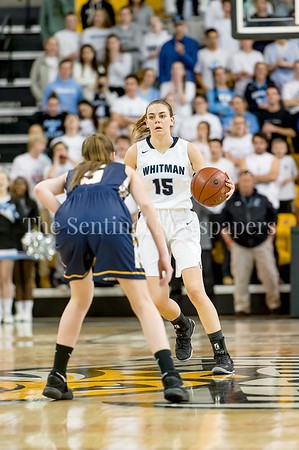 3/11/2017 - Isabel Manzano brings the ball upcourt for the Vikings in the Maryland Girls 4A Championship - Catonsville v Whitman, ©2017 Jacqui South Photography