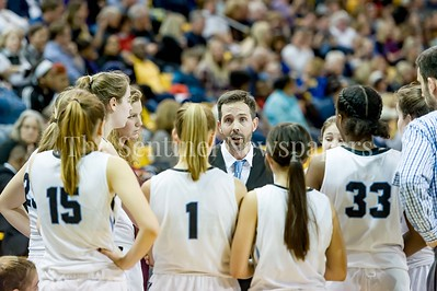 3/11/2017 - Whitman High School Head Coach Peter Kenah during a time out with under a minute to play Maryland Girls 4A Championship. Whitman loses to Catonsville 49-46, ©2017 Jacqui South Photography