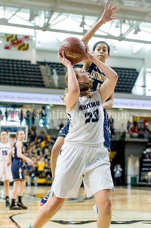 3/11/2017 - Staisha Daniels (4) gets high above Leia Till (23) on this shot in the Maryland Girls 4A Championship - Catonsville v Whitman, ©2017 Jacqui South Photography