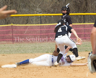 NWHS Karlie Stanford (4) tags out Sherwood's number 3. 03 25 2017 Northwest High School v Sherwood High School Varsity Softball. NWHS Beat SHS 9-5. First Loss for SHS in 105 games