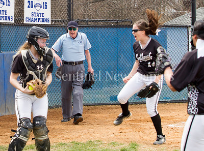 NWHS Catcher Alexa Bowen , and Pitcher Amber Yullie celebrate victory. 03 25 2017 Northwest High School v Sherwood High School Varsity Softball. NWHS Beat SHS 9-5. First Loss for SHS in 105 games