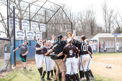 NWHS Team celebrates after win. 03 25 2017 Northwest High School v Sherwood High School Varsity Softball. NWHS Beat SHS 9-5. First Loss for SHS in 105 games