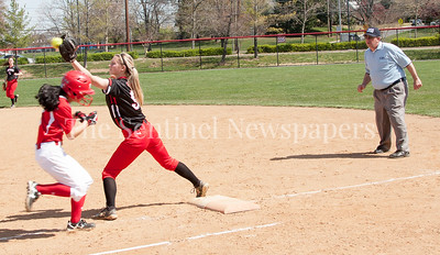 Blair's Quan'ell Kitchen (5)  Out at first base by QO Nicole Beisner (9)  (0)04 10 2017 Quince Orchard v Blair Varsity Softball