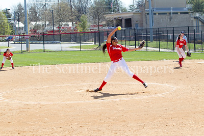 Montgomery Blair's Courtney Wyche (42) pitching. 04 10 2017 Quince Orchard v Blair Varsity Softball