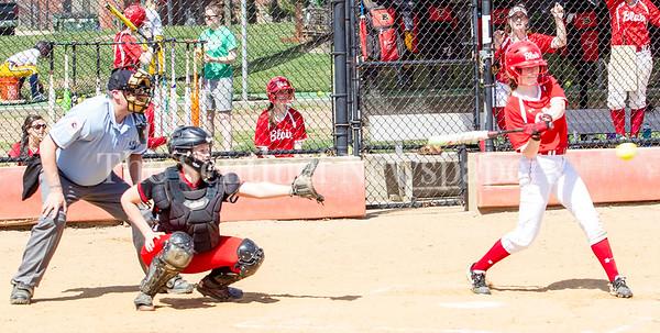 Blair's Maggie Gray (17) at bat. Hitting the game winning run. 04 10 2017 Quince Orchard v Blair Varsity Softball