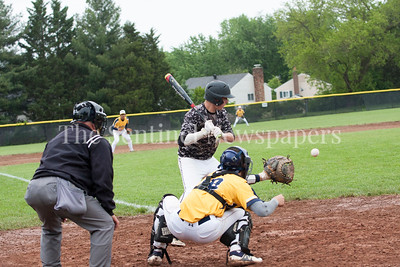 Poolesville Ryan Haddaway (8) at bat. B-CC Spencer Sampson (18)