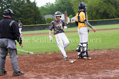 Poolesville Luke Trythall (16) scores, B-CC Spencer Sampson (18)