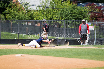 Bethesda-Chevy Chase Barrons first baseman Jacob Lieppe (44), tags Northwood batter out at first. 05 15 2017 Bethesda-Chevy Chase v Northwood Baseball. Playoff round 1