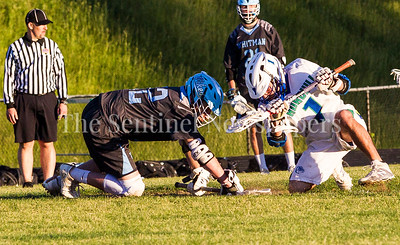 Walt Whitman High School Vikings Alex Crombie (12), Winston Churchill Bulldogs Merrick Willieford (1), 05 15 2017 Walt Witman v Winston Churchill Boys Lacrosse Playoffs