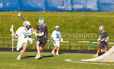 Winston Churchill Bulldogs Ryan Leonard (5), Walt Whitman High School Vikings Isaac Lewis (25), 05 15 2017 Walt Witman v Winston Churchill Boys Lacrosse Playoffs