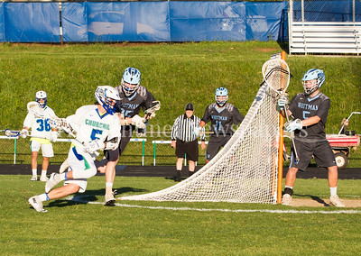Winston Churchill Bulldogs Ryan Leonard (5), Walt Whitman High School Vikings Niko Veizis (15), 05 15 2017 Walt Witman v Winston Churchill Boys Lacrosse Playoffs