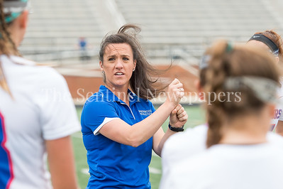 5/20/2017 - Sherwood Head Coach Kelly Hughes at the half of the Bel Air v Sherwood Girls 3A/4A Regional Championship Lacrosse Game, ©2017 Jacqui South Photography