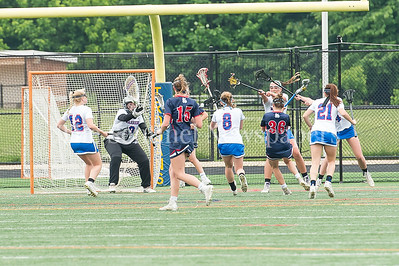 5/20/2017 - Sherwood goalie Becca Herman (0) and the defense look to stop Bel Air middie Caroline Fallace from scoring in the Bel Air  v Sherwood Girls 3A/4A Regional Championship Lacrosse Game, ©2017 Jacqui South Photography