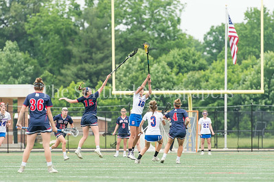 5/20/2017 - Sherwood middie Emma Eustace (18) out reaches for the ball over Bel Air attack Grace Wehland (15) in the Bel Air  v Sherwood Girls 3A/4A Regional Championship Lacrosse Game, ©2017 Jacqui South Photography