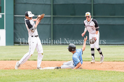 5/23/2017 - Roosevelt baserunner John Kim (3) slides safely into 2nd base as Northwest 2nd baseman Jon Hartig (19) bobbles the ball with back up by shotshotp Griffin Bubb (7) in the 4A Regional Championship game at Shirley Povic Field,  ©2017 Jacqui South Photography