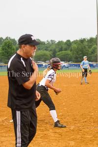 North West High School Jaguars head coach Mike Horton, North West High School Jaguars Alexis Mack (00), 05 23 2017 Northwest v Eleanor Roosevelt Softball State Semi Finals
