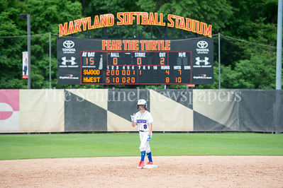 5/27/2017 - With 2 outs in the 7th inning, Sherwood's Madison Wessling on 2nd base during the Maryland 4A championship softball game, ©2017 Jacqui South Photography