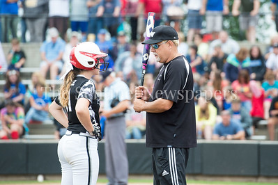 5/27/2017 - Amber Yuille and Coach Mike Horton during the Maryland 4A championship softball game, ©2017 Jacqui South Photography