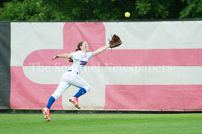 5/27/2017 - A double by Alex Karamihas is just out Madison Wessling's reach in the Maryland 4A championship softball game, ©2017 Jacqui South Photography