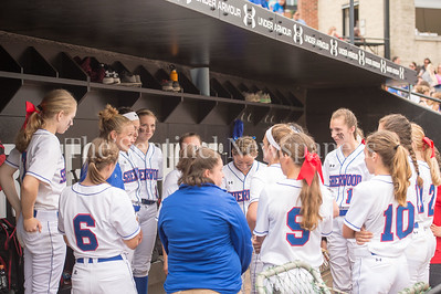 5/27/2017 - Sherwood Coach Ashley Barber-Strunk with the team before the Maryland 4A championship softball game, ©2017 Jacqui South Photography