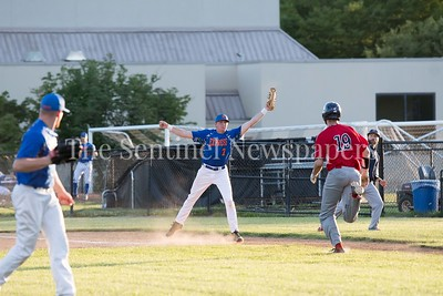 6/9/2017 - Express 1st baseman Andrew Valichka (7) grabs the throw and Herndon Braves Alex Bernauer (19) is out at first, ©2017 Jacqui South Photography