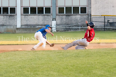 6/9/2017 - Herndon Braves Chandler Miller (2) is tagged out on a steal attempt by Express 2nd baseman Billy Lennox, ©2017 Jacqui South Photography
