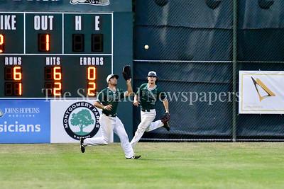 6/15/2017 - Bethesda Big Train left fielder Matt Green (16) grabs a fly ball, ©2017 Jacqui South Photography