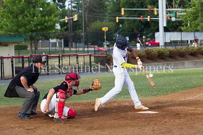 THunderbolts' Andy Rozylowicz (10), at bat Express' Jacob Barnwell (42) Catcher.  06 23 2017  Rockville Express v Takoma Park Silver Spring Thunderbolts Baseball