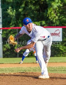 THunderbolts Pitcher, Brady Adam from Olney. 06 23 2017  Rockville Express v Takoma Park Silver Spring Thunderbolts Baseball