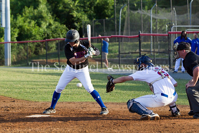 Express' Justin Smith at bat. Thunderbolt Brett Simon Catcher. 06 23 2017  Rockville Express v Takoma Park Silver Spring Thunderbolts Baseball