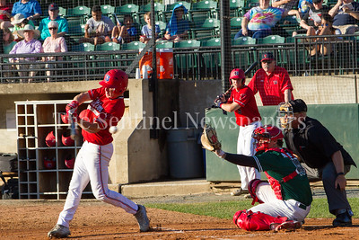 Baltimore Redbirds Dusty Baker (4), Bethesda BigTrain Justin Morris (13), 06 24 2017  Bethesda Big Train v Baltimore Redbirds Baseball