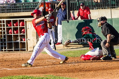 Baltimore Redbirds Randy Bednar (38) from Bethesda, MD at bat against friend Bethesda BigTrain Justin Morris (13), 06 24 2017  Bethesda Big Train v Baltimore Redbirds Baseball