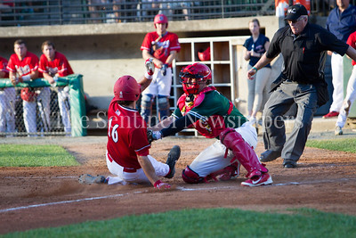 Baltimore Redbirds Laney Orr (16) steals home base - Bethesda BigTrain Justin Morris (13), 06 24 2017  Bethesda Big Train v Baltimore Redbirds Baseball