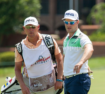 David Linmerth chats with his caddy on the 14th green. 06 29 2017 Quicken Loans National Golf Tournament at TPC Potomac. Day 3 Thursday