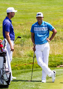 Harris English (L) and James Hahn chat while waiting for Kevin Na to get on the green at 14. 06 29 2017 Quicken Loans National Golf Tournament at TPC Potomac Day 3 Thursday