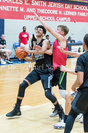 7/18/2017 - Einstein's Ryan Niemzck guards Springbrook's Cam Rucker, Maryland Elite Summer Basketball, ©2017 Jacqui South Photography