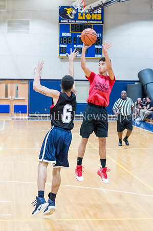 7/18/2017 - Jack Lee shoots a jump shot over defender Jahloni Guillespie, Maryland Elite Summer Basketball, ©2017 Jacqui South Photography