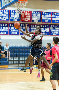 7/18/2017 - Delano Jessup shoots guarded by Caleb Arthur, Maryland Elite Summer Basketball, ©2017 Jacqui South Photography