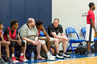7/18/2017 - Einstein coaching staff Joe Gilmore (left) & Sean Wigmore (right), Maryland Elite Summer Basketball, ©2017 Jacqui South Photography