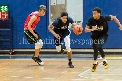 7/18/2017 - Matthew Balanc brings the ball upcourt for Springbrook, Maryland Elite Summer Basketball, ©2017 Jacqui South Photography