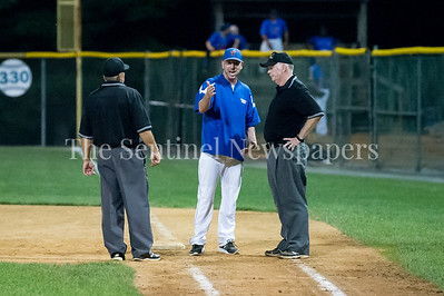 7/20/2017 - Thunderbolt Manager Doug Remer disputes if a ball was fair that that was hit down the 1st base line, Thunderbolts v Big Train, Photo Credit: Jacqui South