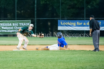 7/20/2017 - Big Train infielder Tanner Allen grabs the throw and makes the tag on Carl Colbert for the 3rd out in the 9th inning, Thunderbolts v Big Train, Photo Credit: Jacqui South