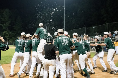 7/20/2017 - The dugout clears to celebrate Vinny Esposito's walk-off home run giving the Big Train a 7-6 win over the Thunderbolts, Photo Credit: Jacqui South