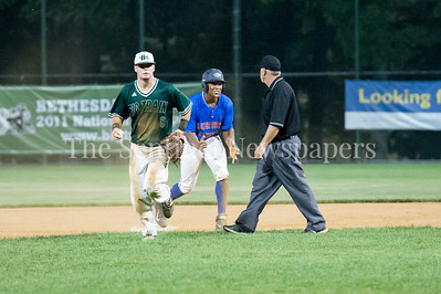 7/20/2017 - Carl Colbert making his case with the umpire that he was safe on a slide to 2nd base in the 9th inning, Thunderbolts v Big Train, Photo Credit: Jacqui South
