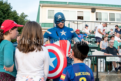 7/20/2017 - Captain America at Super Hero night at Shirley Povice Field, Thunderbolts v Big Train, Photo Credit: Jacqui South