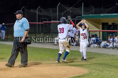 7/21/2017 - Thunderbolts 2nd baseman Alex Yi-Chen Jou scores and gets cheers from the bat boy, Photo Credit: Jacqui South