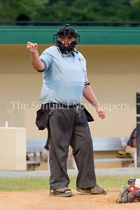 7/21/2017 - Home plage umpire Chris Kiersarky calls a strike in the Riverdogs v Thunderbolts game, Photo Credit: Jacqui South